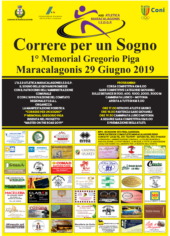 CORRERE PER UN SOGNO - 1° MEMORIAL GREGORIO PIGA - MARACALAGONIS 29 GIUGNO 2019